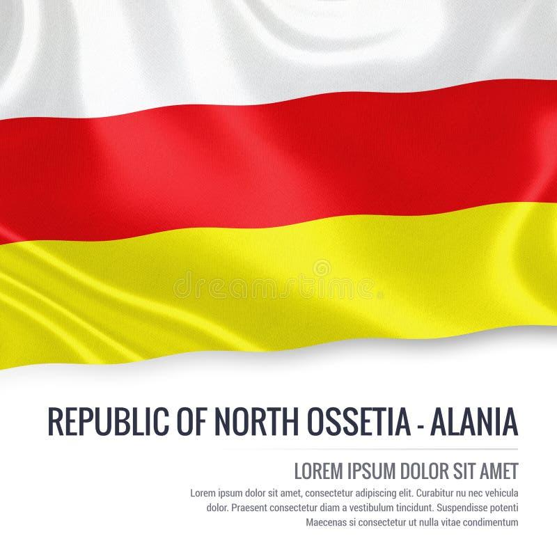 Repubblica russa dello stato della bandiera del nord di Ossetia-Alania illustrazione vettoriale