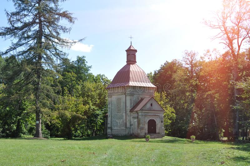 Republic of Belarus, Pinsky district, Duboe village. Chapel of the Exaltation of the Cross. Republic of Belarus, Pinsky district, Duboe village. Ancient manor stock photo