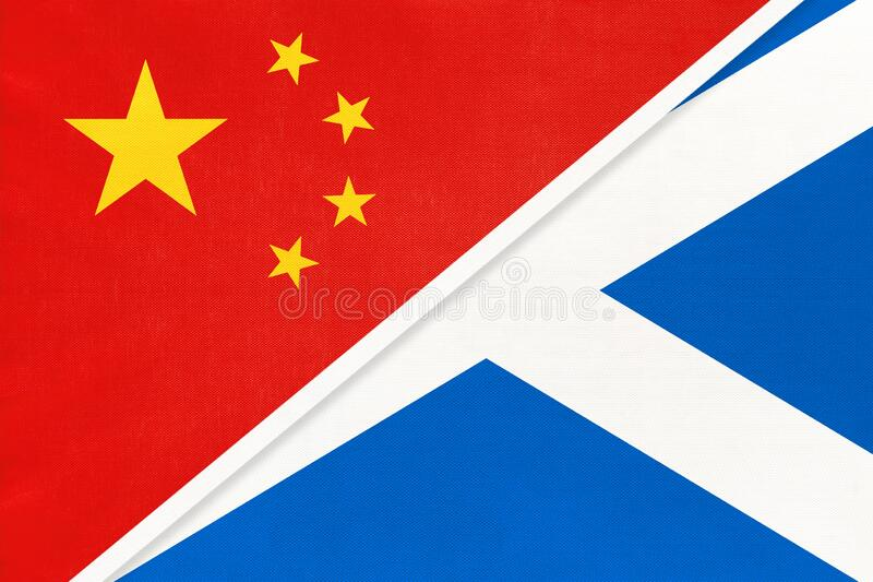 Republic of China vs Scotland national flag from textile. Relationship between two countries. Republic of China vs Scotland national flag from textile stock photo