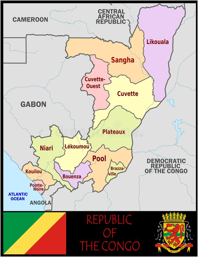 Republic Congo Administrative Divisions Stock Illustration