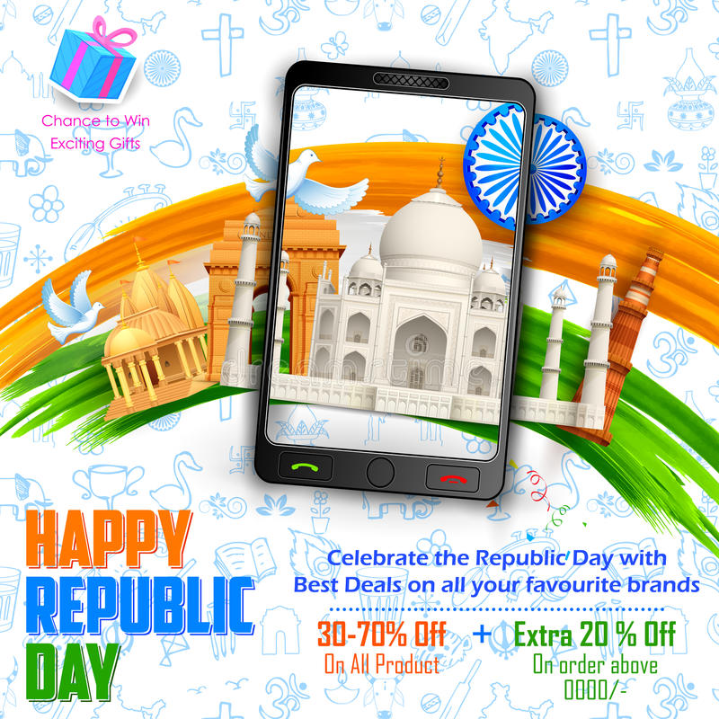 Republic Day sale banner stock illustration