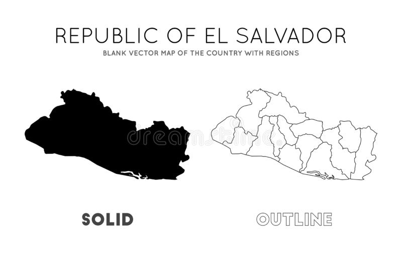 El Salvador High Resolution Map With National. Stock Vector ...