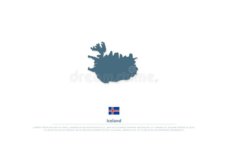 Republic of Iceland isolated map and official flag icons royalty free illustration