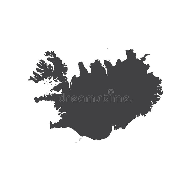 Republic of Iceland map silhouette stock illustration