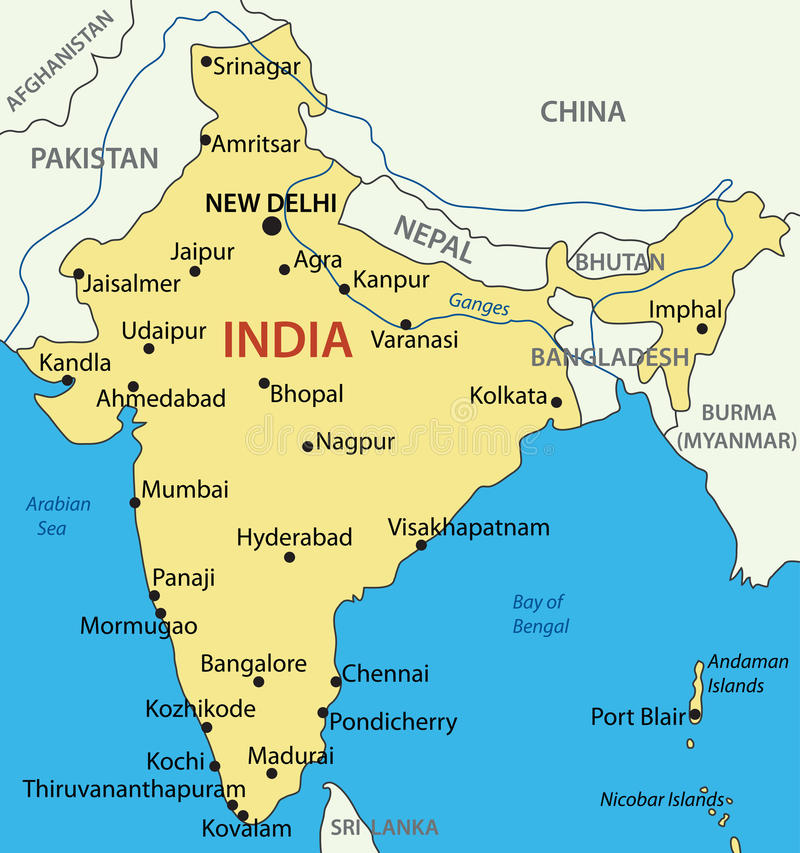 Republic of India - vector map. Eps 8 vector illustration