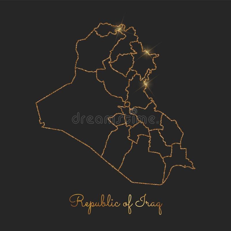 Republic Of Iraq Region Map Golden Glitter Stock Vector Image - Iraq map outline