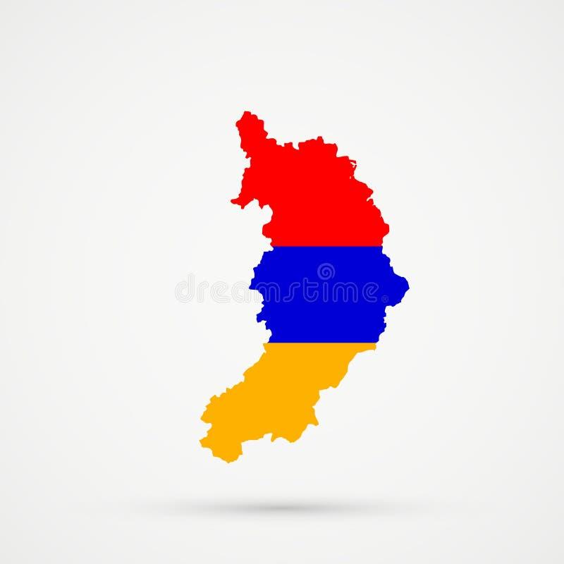 Republic of Khakassia map in Armenia flag colors, editable vector vector illustration