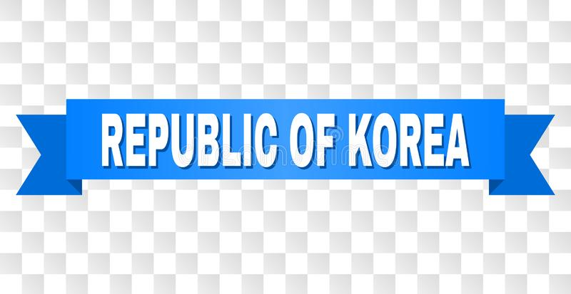 Blue Tape with REPUBLIC OF KOREA Caption. REPUBLIC OF KOREA text on a ribbon. Designed with white caption and blue stripe. Vector banner with REPUBLIC OF KOREA vector illustration