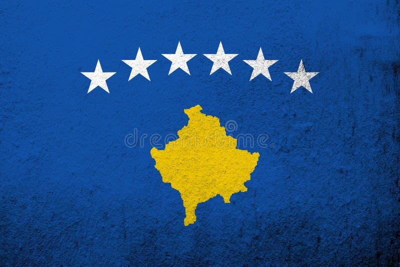 The Republic of Kosovo National flag. Grunge background stock photography