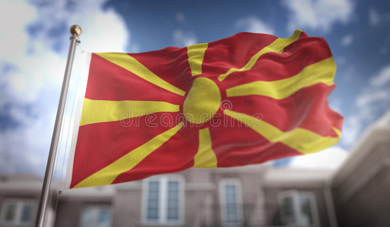 Republic of Macedonia Flag 3D Rendering on Blue Sky Building Background royalty free stock image