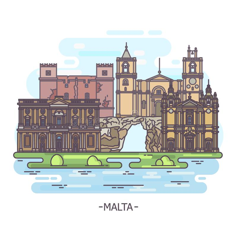 Historical architecture landmarks of Malta, tourism theme. Republic of Malta architecture landmarks. Saint John cathedral, Blue Grotto sea cavern and st. Paul royalty free illustration