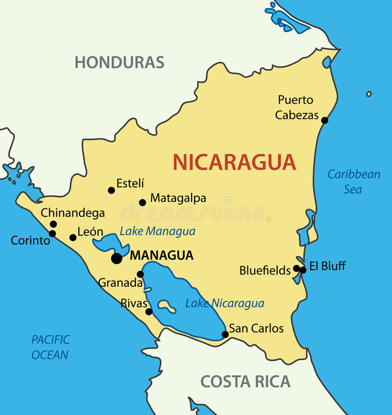 Republic Of Nicaragua Map Of Country Vector Stock Vector - Nicaragua map download