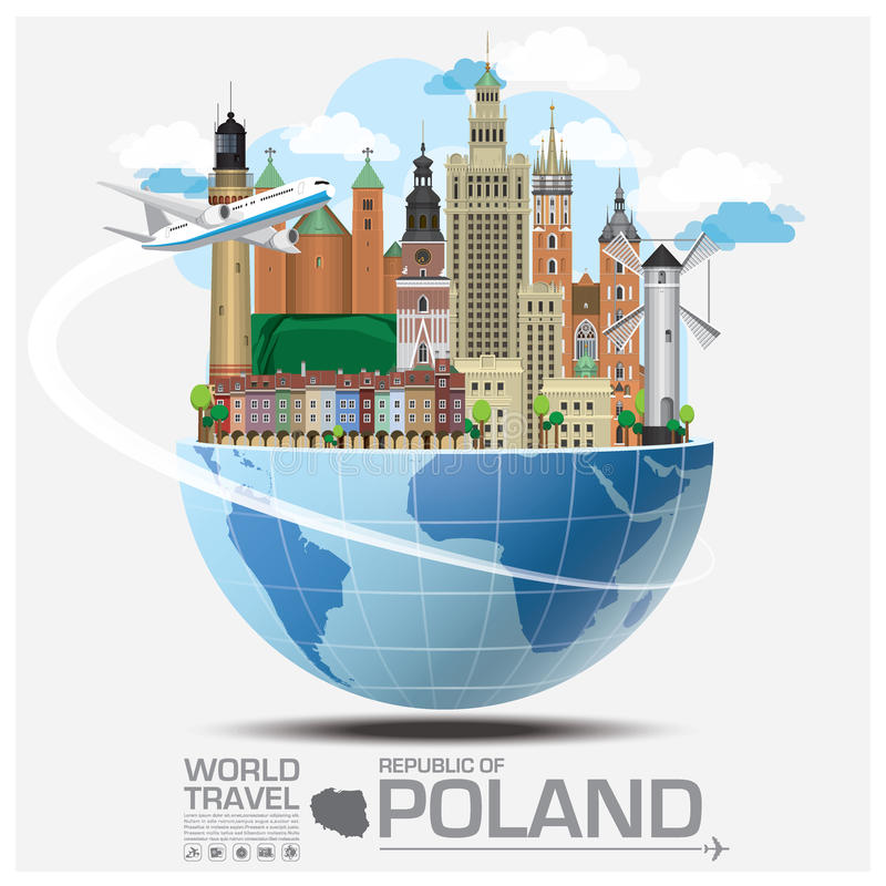 Republic Of Poland Landmark Global Travel And Journey Infographic stock illustration