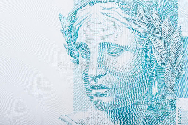 Republic's Effigy. Portrayed as a bust on Brazilian Real royalty free stock photography