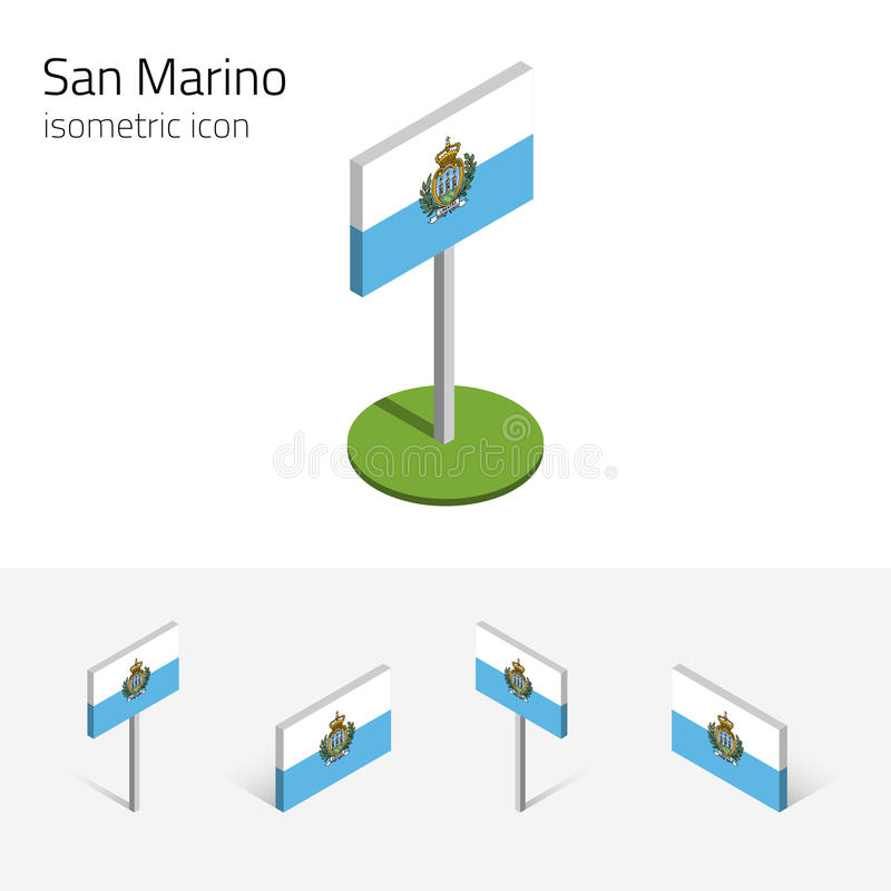 Republic of San Marino flag, vector set of 3D isometric icons vector illustration