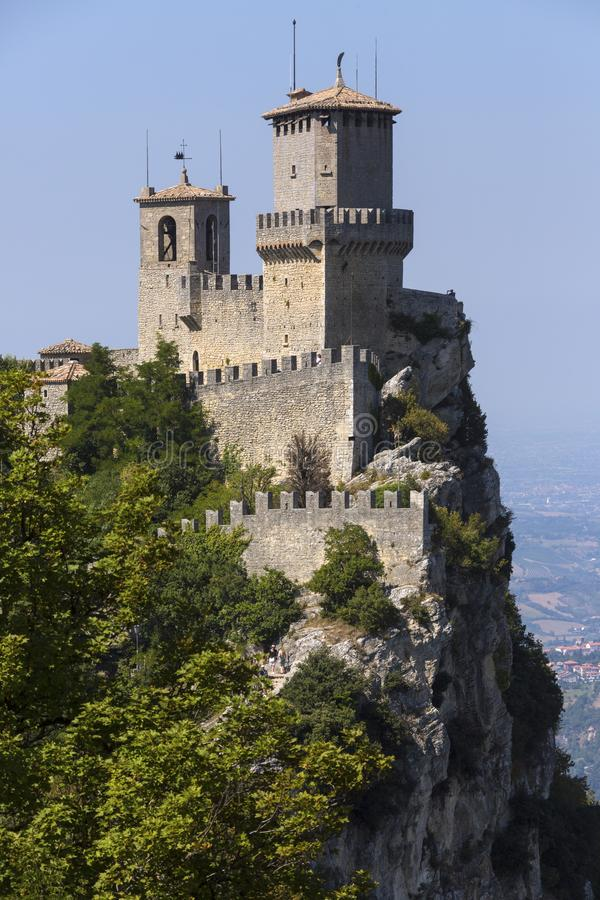 The Republic of San Marino. The fortress of Guaita on Mount Titano in San Marino. The Republic of San Marino is an enclaved microstate surrounded by Italy stock image