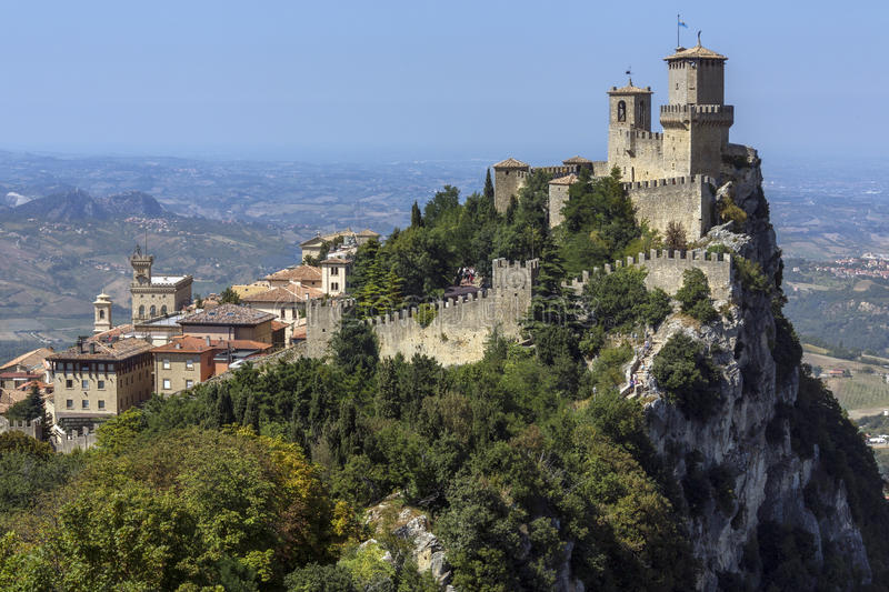 The Republic of San Marino. The fortress of Guaita on Mount Titano in San Marino. The Republic of San Marino is an enclaved microstate surrounded by Italy. San stock photography