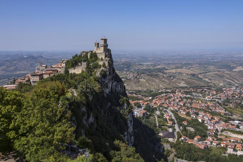 The Republic of San Marino. The fortress of Guaita on Mount Titano in San Marino. The Republic of San Marino is an enclaved microstate surrounded by Italy. San stock image