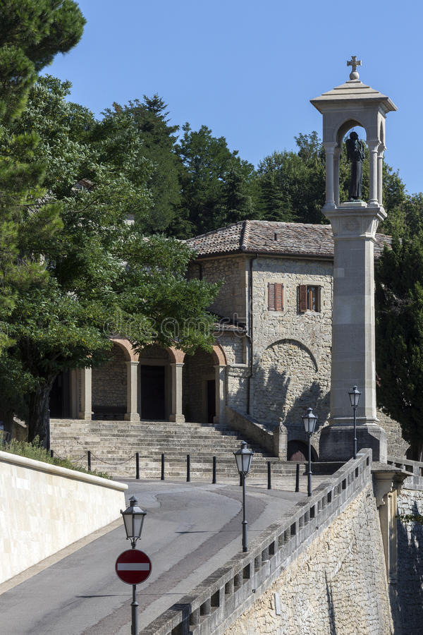 The Republic of San Marino. A religious monument in a street in the Republic of San Marino - an enclaved microstate surrounded by Italy. San Marino claims to be royalty free stock photos