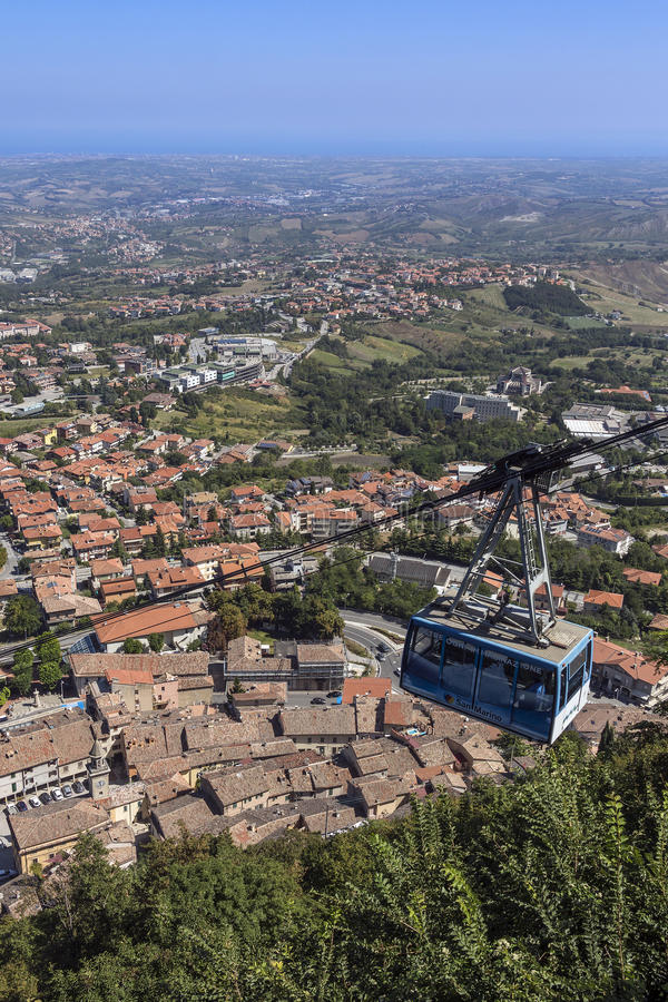 The Republic of San Marino. View from the fortress of Guaita on Mount Titano in San Marino. The Republic of San Marino is an enclaved microstate surrounded by royalty free stock photo