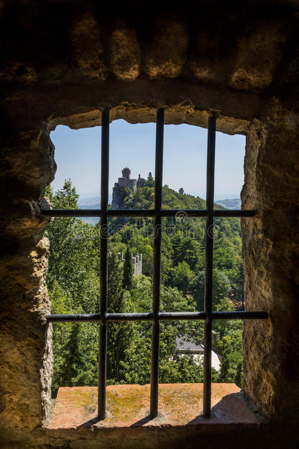 Republic of San Marino. View from a window in the fortress of Guaita on Mount Titano in San Marino. The Republic of San Marino is an enclaved microstate royalty free stock photography