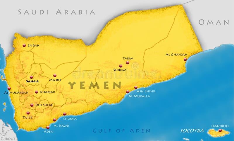Republic of Yemen map. Map of Yemen and Socotra Island royalty free illustration