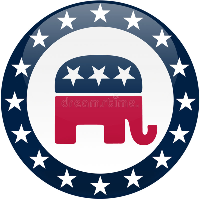 Free Republican Button - White And Blue Stock Photos - 5140083