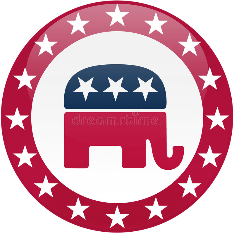 Republican Button - White and Red. Election themed round button with 3d effect, Democratic party logo - clipping path included