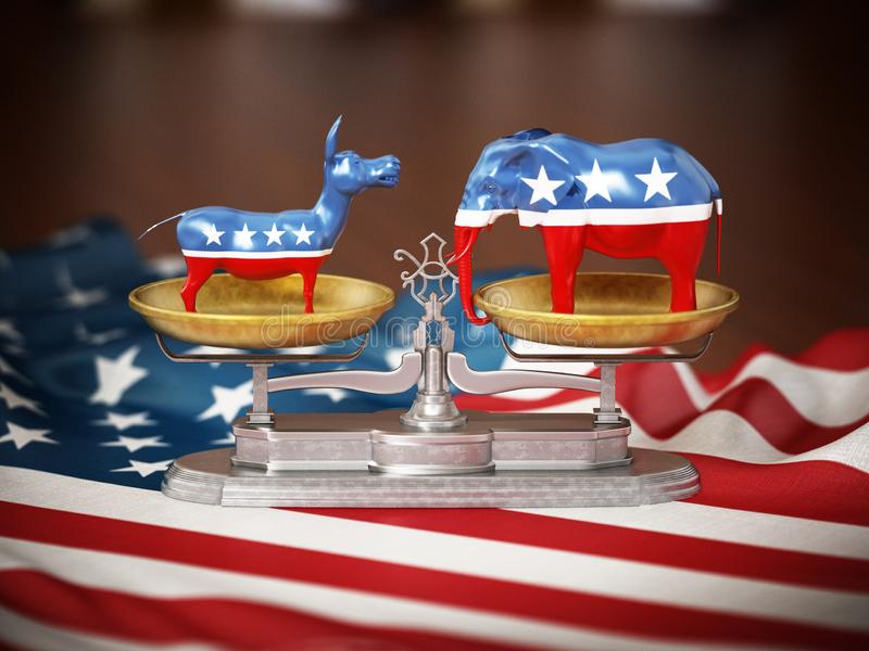 Republican and Democrat party political symbols elephant and donkey on American flag. 3D illustration royalty free illustration