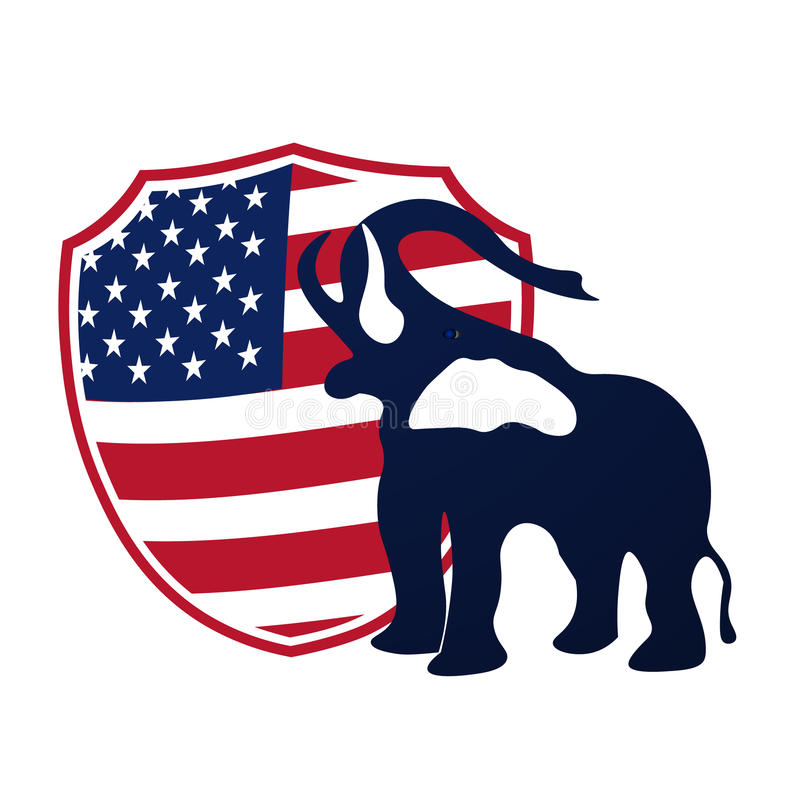 Republican elephant in the background of the shield in the colors of the American flag. Republican victory in US stock illustration