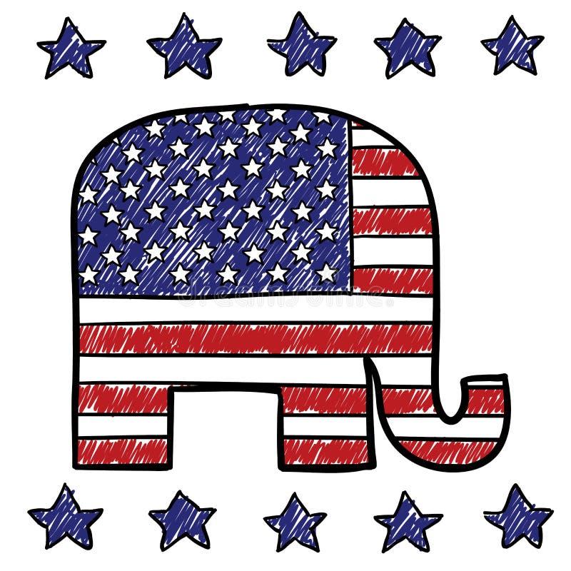 Republican Party elephant sketch vector illustration