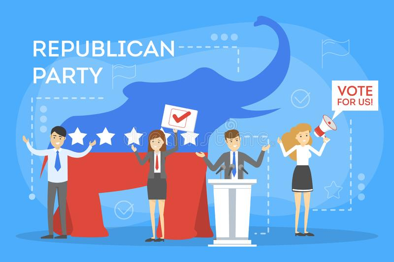 Republican party in the USA. Red elephant as a symbol vector illustration