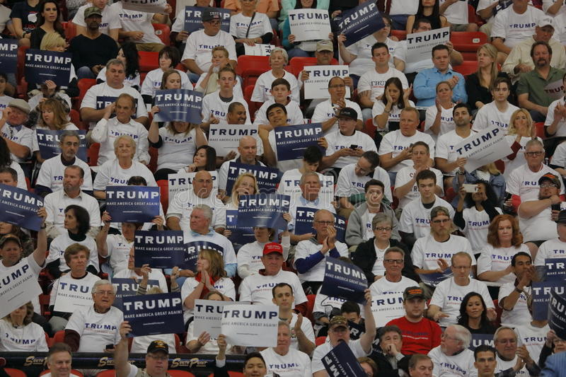 Republican presidential candidate Donald Trump campaign rally at the South Point Arena & Casino in Las Vegas stock images