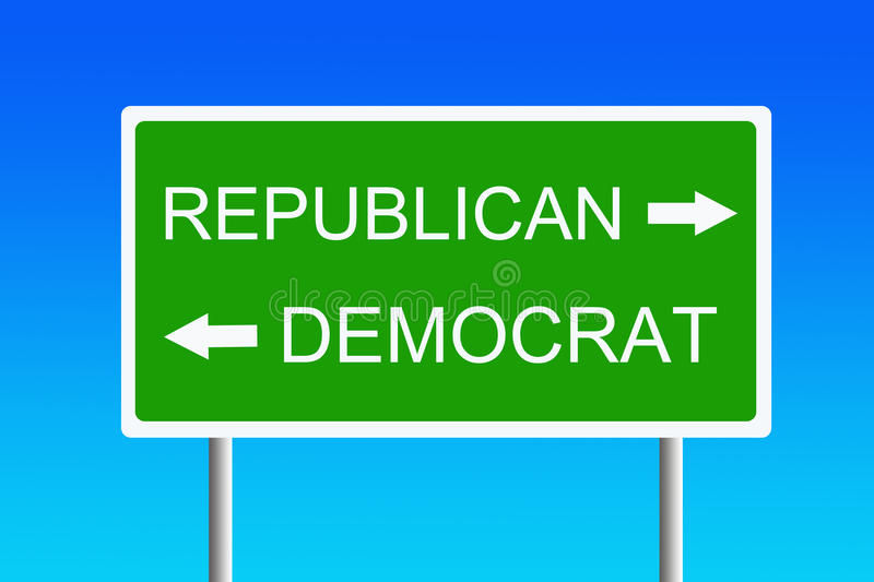 Republican versus democrat. Ongoing political battle between republicans and democrats royalty free illustration