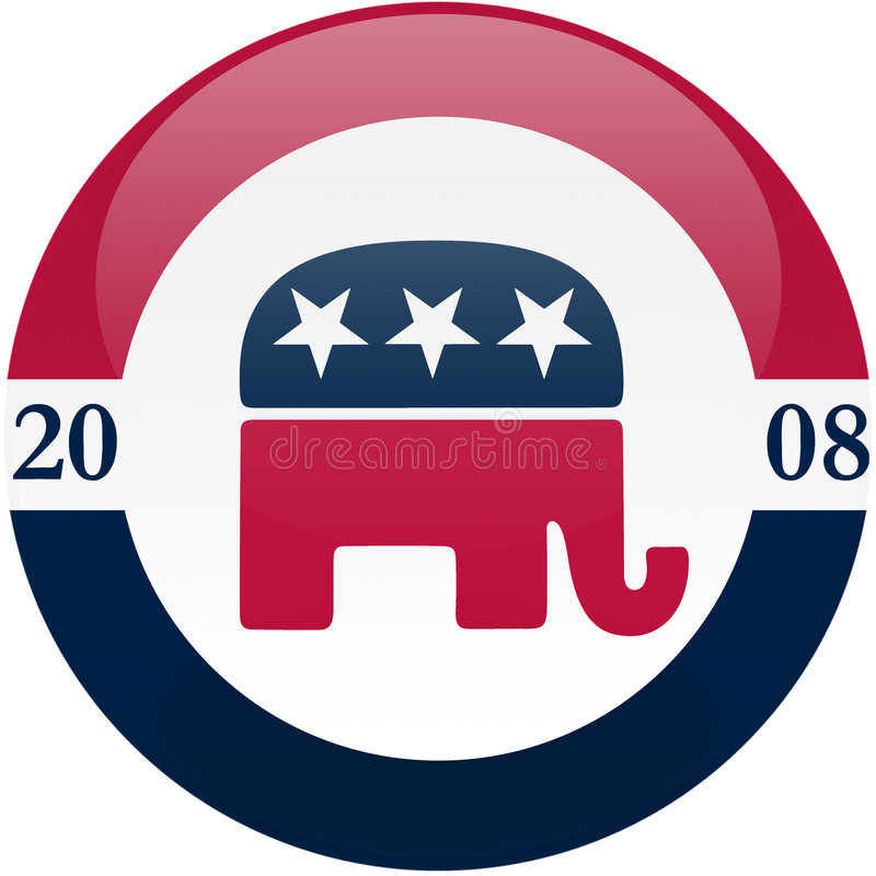 Republicans in 2008. Election themed round button with 3d effect, Republican party logo - clipping path included