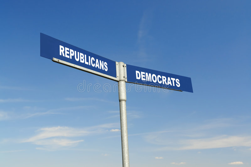 Republicans vs Democrats signpost stock image