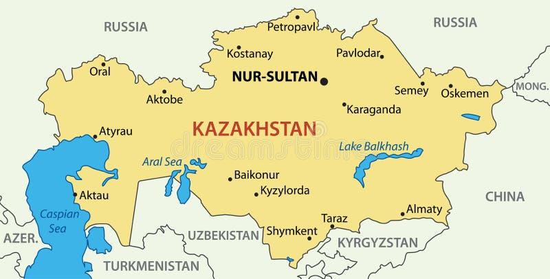 Republiek Kazachstan - vectorkaart royalty-vrije stock foto's
