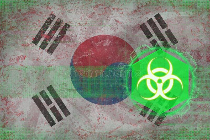 Republiek Korea Zuid-Korea biohazard bedreiging Biologisch bedreigingsconcept royalty-vrije illustratie