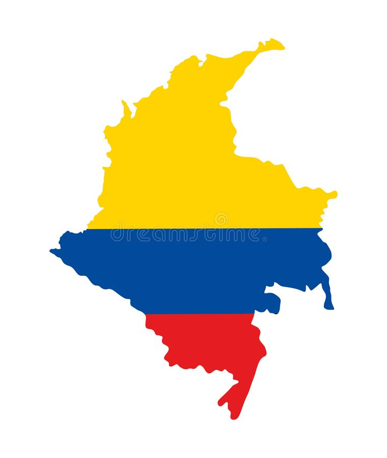Republiek van de kaartsilhouet van Colombia, kaart met Columbiaanse vlag wordt gevuld die stock illustratie
