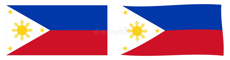 Republiek van de vlag van Filippijnen Eenvoudig en lichtjes golvend ver stock illustratie