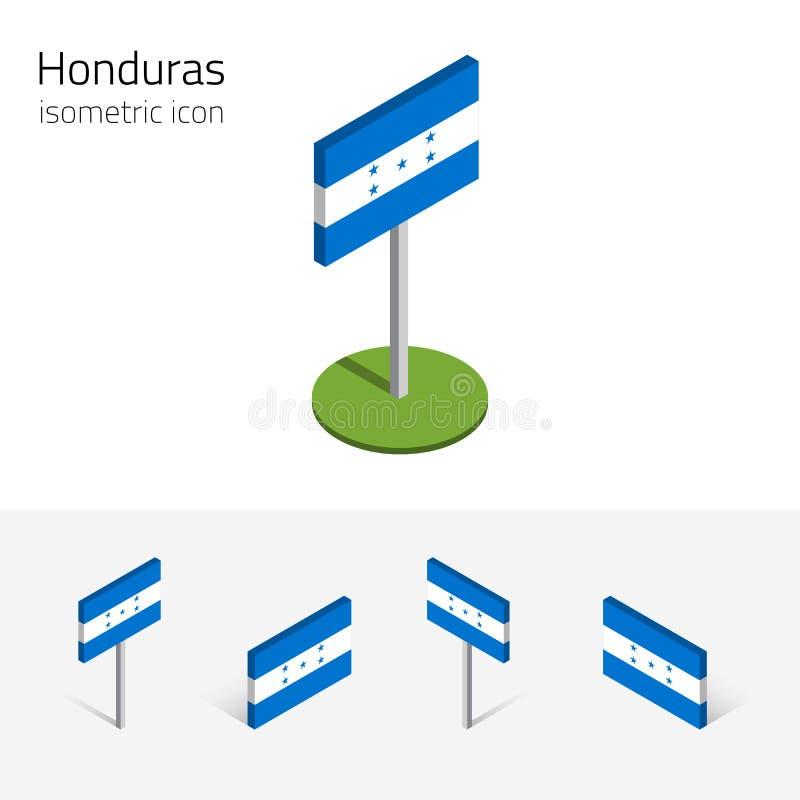 Republiek van de vlag van Honduras, vectorreeks 3D isometrische vlakke pictogrammen stock illustratie