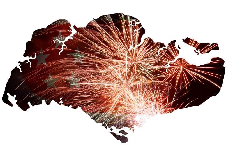 Republiek van het Silhouet van de het Vuurwerkkaart van Singapore stock illustratie