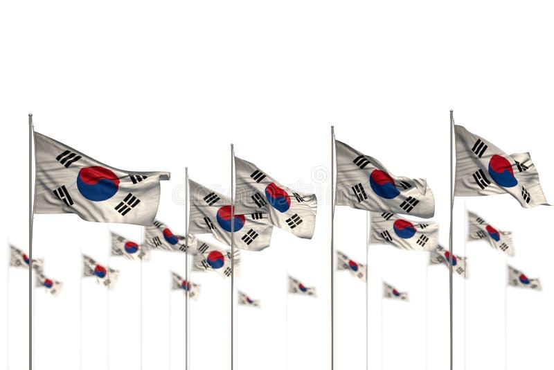 Republiek van Nice Korea Zuid-Korea isoleerde vlaggen in rij met zachte nadruk en ruimte voor uw inhoud worden geplaatst - om het royalty-vrije illustratie
