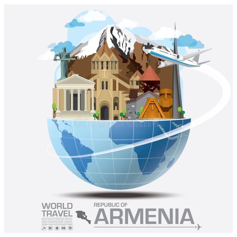 Republik- Armenienmarkstein-globale Reise und Reise Infograph vektor abbildung
