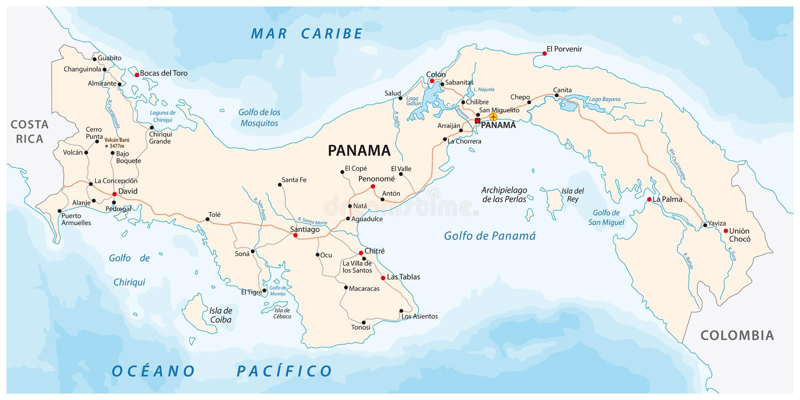 Republik av översikten för Panama vägvektor stock illustrationer