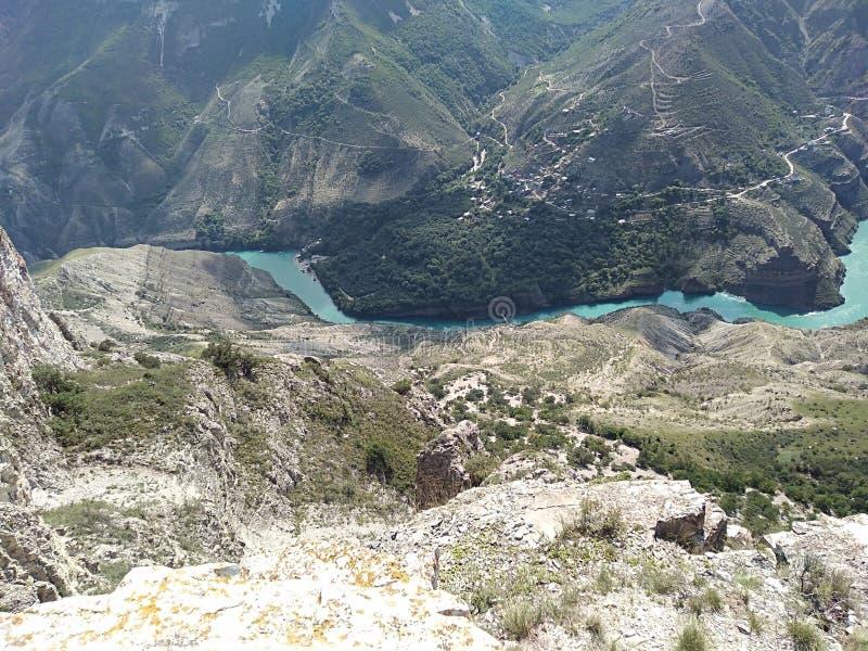 Republik av den Dagestan Sulak kanjonen arkivfoton