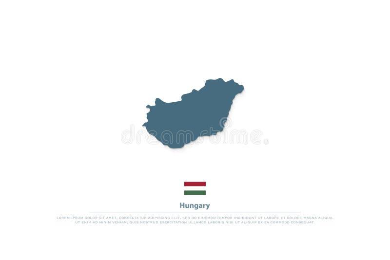 Republik av den Ungern isolerade översikten och officiella flaggasymboler stock illustrationer
