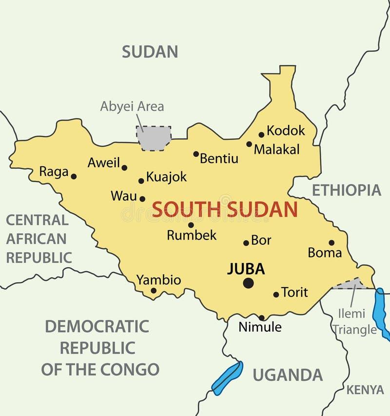 Republik av södra Sudan - översikt royaltyfri illustrationer