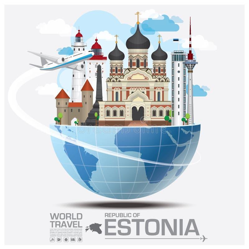 Republik der Estland-Markstein-globalen Reise und der Reise Infograph stock abbildung