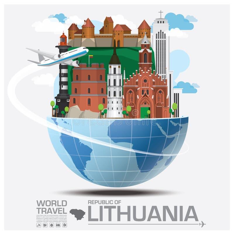 Republik der Litauen-Markstein-globalen Reise und der Reise Infogra lizenzfreie abbildung